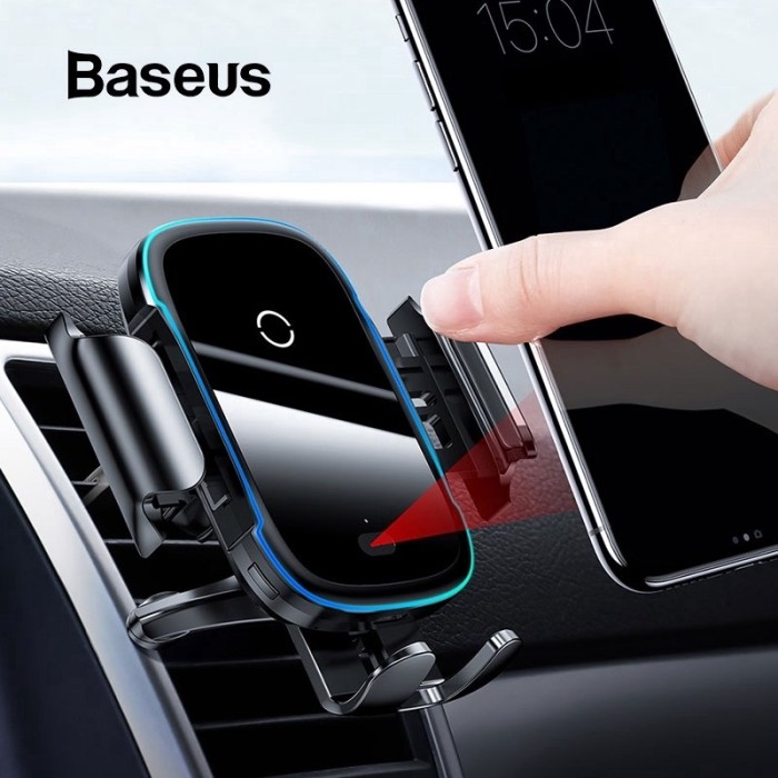 Foto Produk baseus wireless car charger 15w light electric cas mobil holder stand dari Vilox