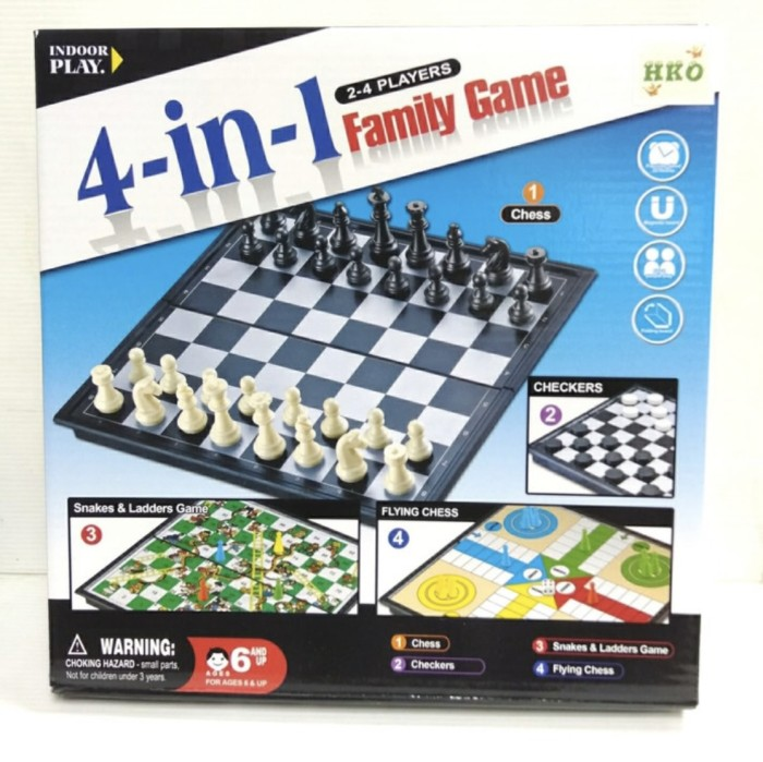 Foto Produk 4 in 1 Family Game Mainan Board Game Catur Othello Ular Tangga Ludo dari Lumi Toys