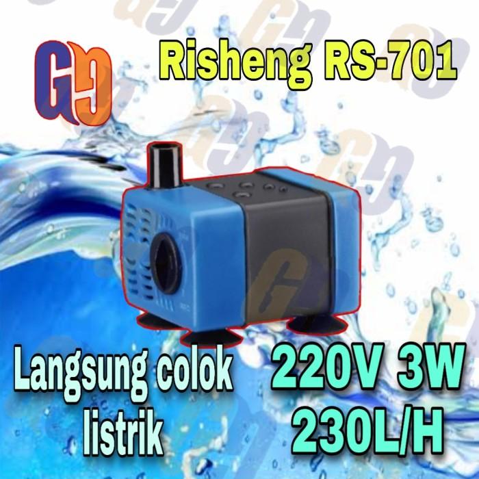 Foto Produk RS-701 Pompa celup mini 220V 3W 230L/H aquarium aquascape hidroponik dari GG outlet