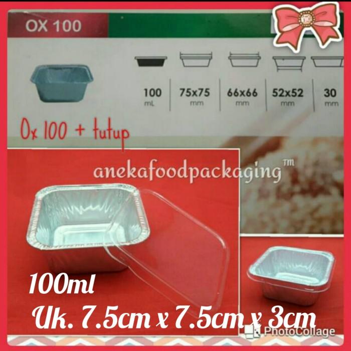 Foto Produk Cup/wadah aluminium foil kotak bujursangkar Ox 100 + tutup dari anekafoodpackaging