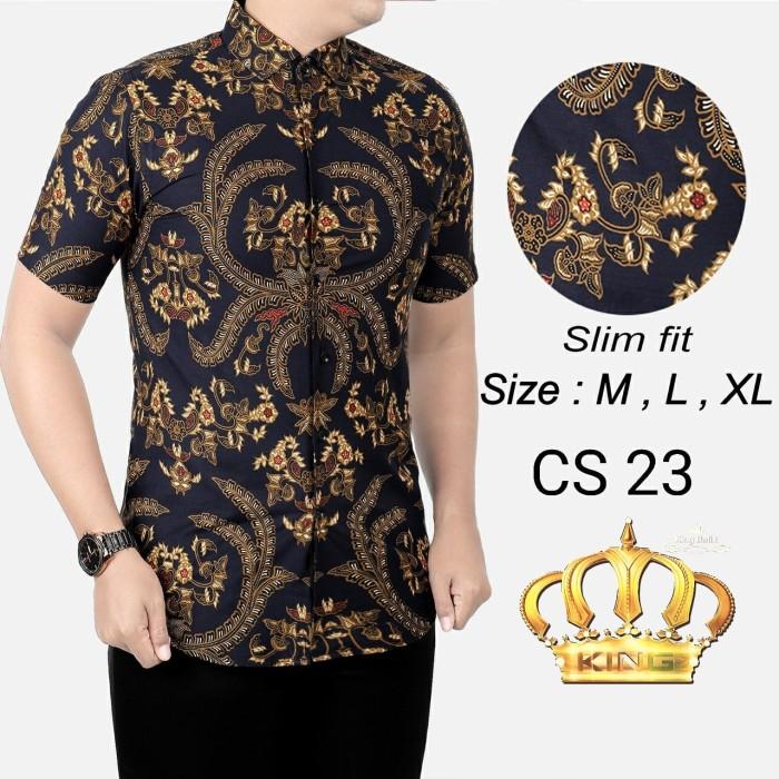 Foto Produk Baju Kemeja Batik Pria Modern Slim Fit Lengan Pendek OB 203 dari KingBatikCollection