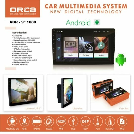Foto Produk Head unit Android ORCA ADR-1088 9 Inch VOICE COMMAND dari Audio Kim Voice