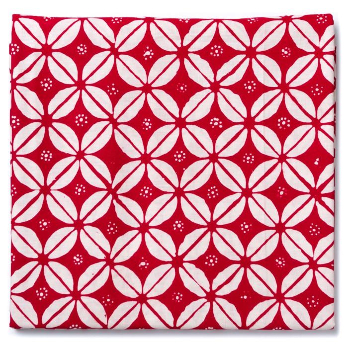 Foto Produk Kain Batik Cap Garutan Motif Kawung Kopi Besar - Merah dari Kainusa