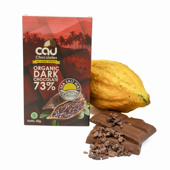 Organik Dark Chocolate 73 % Sea Salt Nibs – 50 gr Cau Chocolates