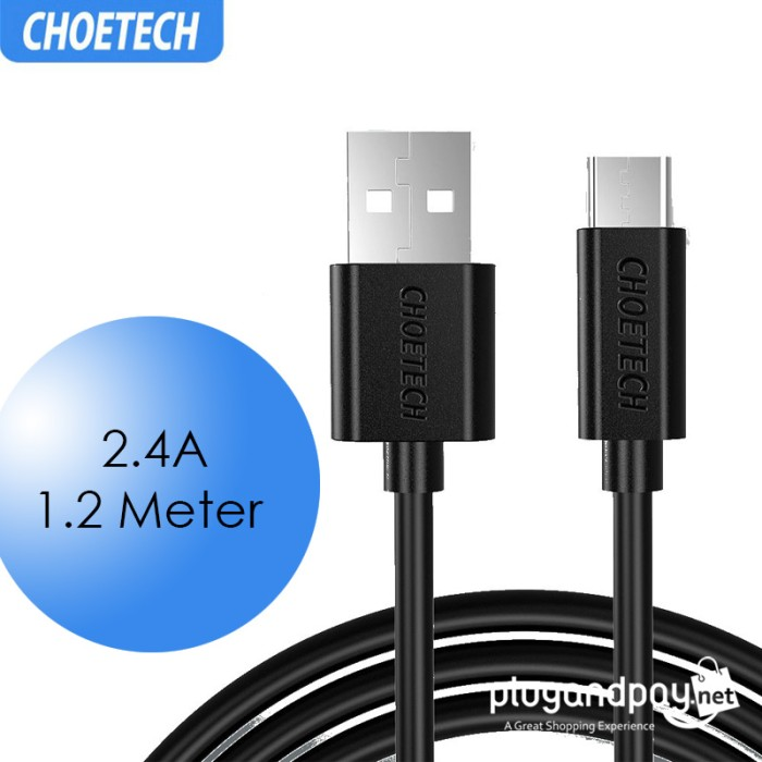 Foto Produk CHOETECH Kabel Charger Micro USB Fast Charging 2.4A 1.2 Meter Data Cab dari plugandpay