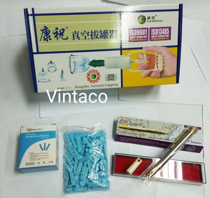 Foto Produk Paket Hemat Kop Bekam Kangzhu isi 6 + Pen Bekam SS SM 158 + Jarum dari Vintaco