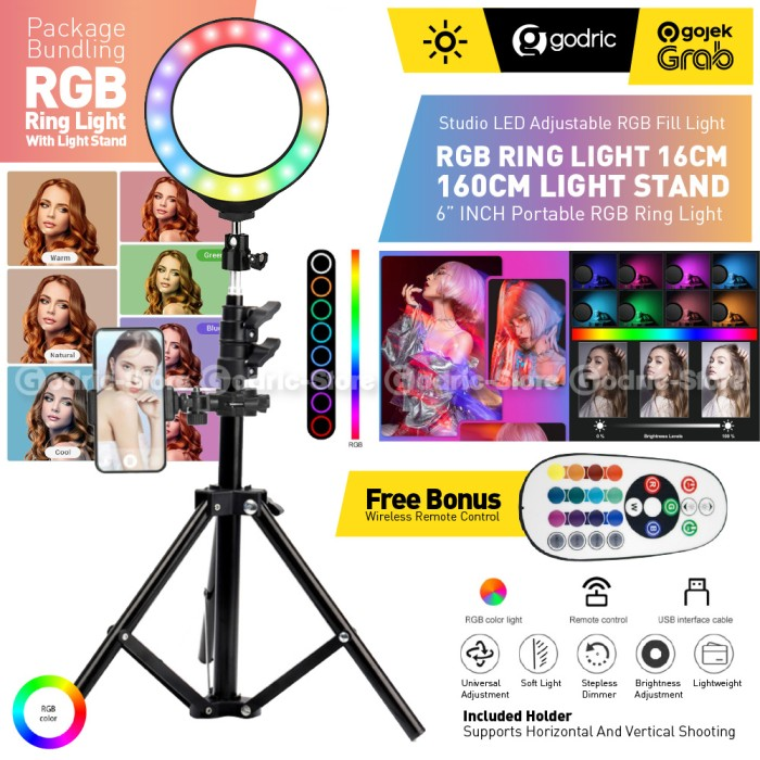 Foto Produk Set RGB Ring Light 16CM (w/ REMOTE) Tripod Light Stand 160CM Lampu LED dari Godric Store
