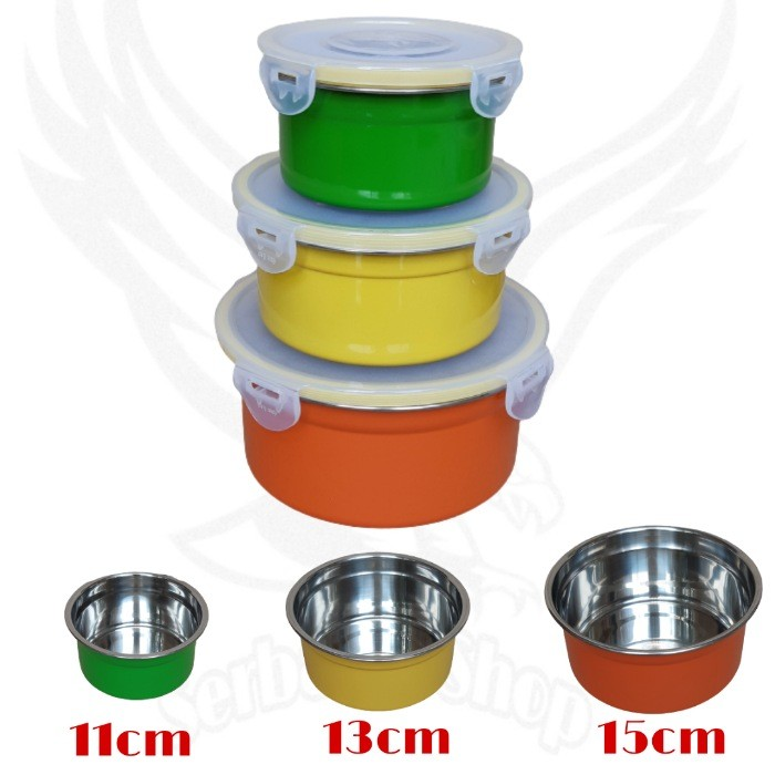 Foto Produk Kotak Makan Set 3pcs Stainless Bahan Tebal /Food Box Storage - Silver dari SerbAda_Shop