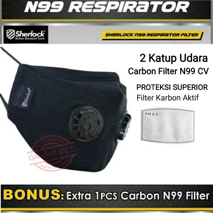 Foto Produk Sherlock Masker Kesehatan N99 Filter Carbon Anti Virus / Polusi dari Glodok VCD