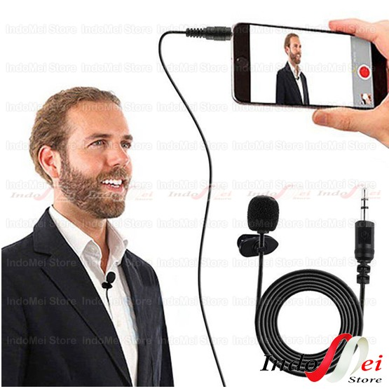 Foto Produk Clip on Mic Microphone 3.5 mm with clip for youtuber dari Indomei Store