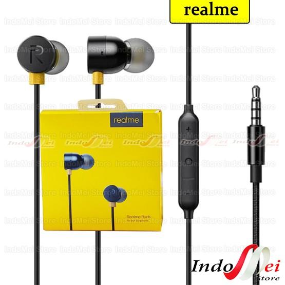 Foto Produk HEADSET EARPHONE HF MAGNET REALME BASS MA-10 REALME 5.REALME 3 dari Indomei Store