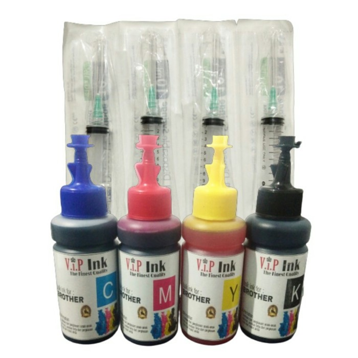 Foto Produk Tinta Brother Paket 4 Botol Dan 4 Suntikan Vip Ink Best Quality dari Mitraink
