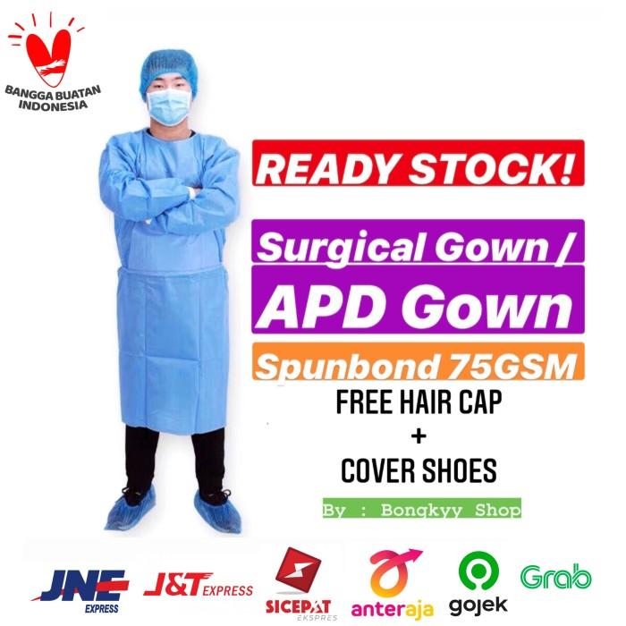 Foto Produk Surgical Gown / Gown APD / Baju Operasi Hazmat Medis WATERPROOF 75GSM dari Bongkyy shop