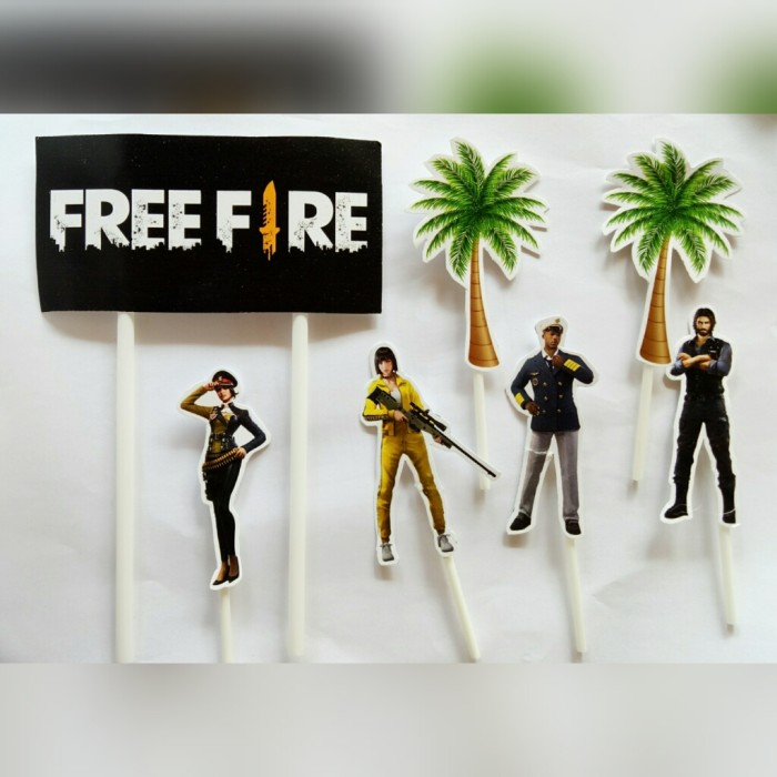 Foto Produk satu set topper cake hiasan kue ulang tahun karakter free fire dari recht shop