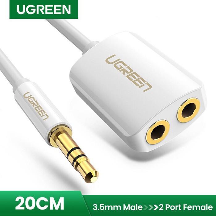 Foto Produk Ugreen 3.5mm Male to 2 Female Audio Cable 20cm (10738) - White dari Inti Sukses