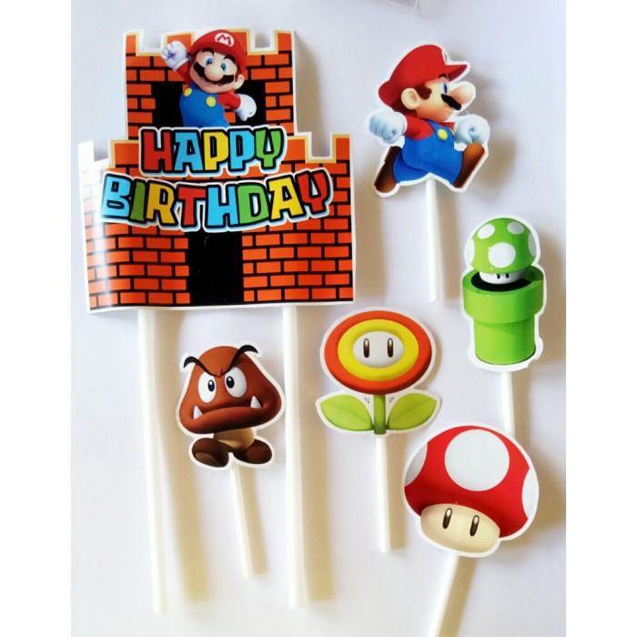 Foto Produk satu set topper toper cake hiasan kue ulang tahun karakter mario bross dari recht shop