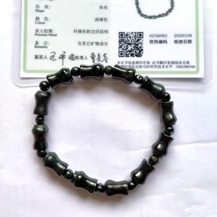 Foto Produk Natural Gelang Giok Burma Hitam Mo cui Black Jadeite Jade Type A Asli dari pencari_rizki