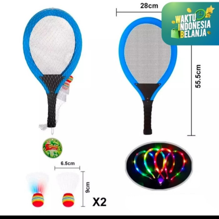 Foto Produk Mainan anak Set Raket lampu Bulutangkis/Light Badminton Racket - Biru dari AUTO KID II