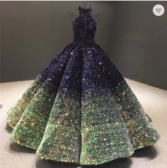 Jual Puffy Ball Gown Green Sequin Fabric Quinceanera Prom Dresses 2020 New Kota Tangerang Gaunwedding Com Tokopedia