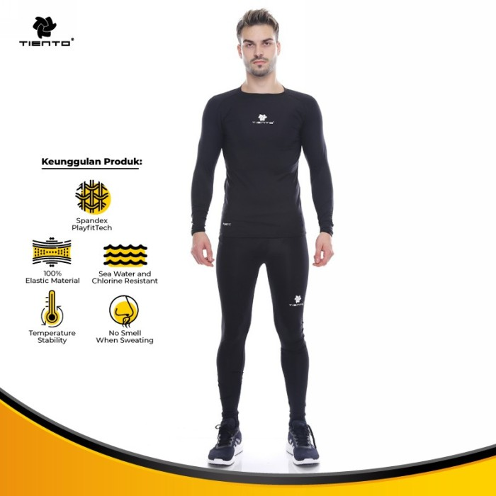 Foto Produk Tiento Baselayer Manset Long Sleeve Celana Legging 1 Stel Black White dari TIENTO