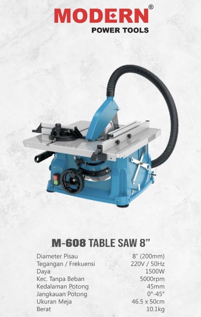 Foto Produk M608 Mesin Table Saw Modern 8 INCH BODY BESAR Mesin Gergaji Kayu MEJA dari JABAR TEKNIK