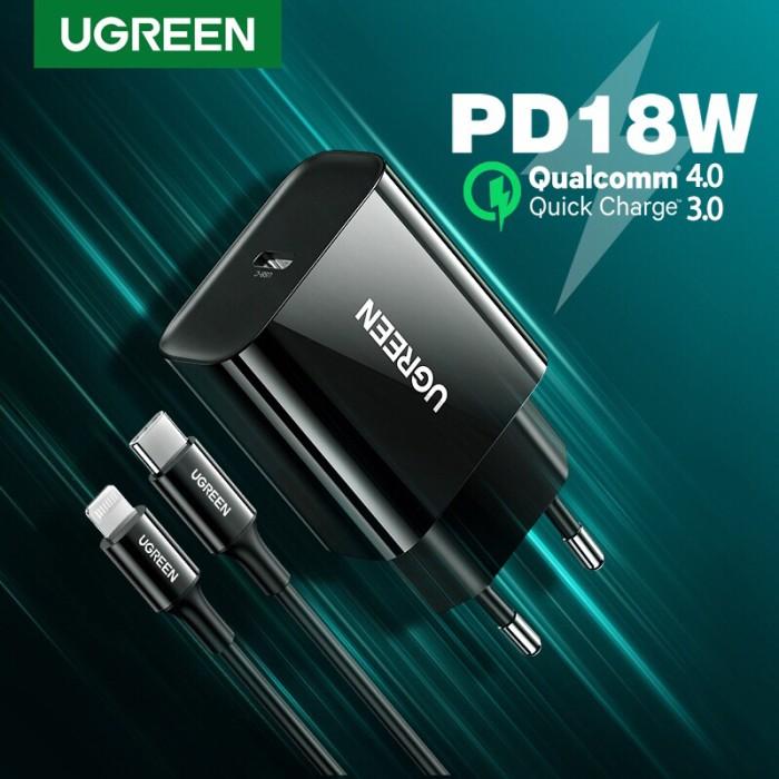 Foto Produk Ugreen Combo Charger+Cable Type C Lightning QC PD 18w BLACK- Com10191 dari Ugreen ID