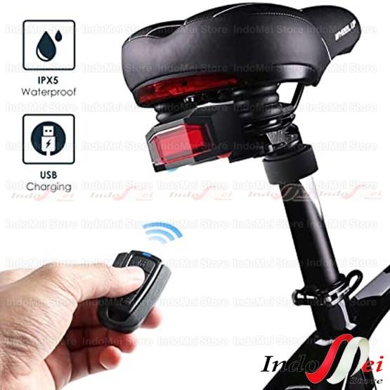 Foto Produk Lampu sepeda led charger Anti-Maling + Remote Alarm +Klakson 3 in 1 dari Indomei Store