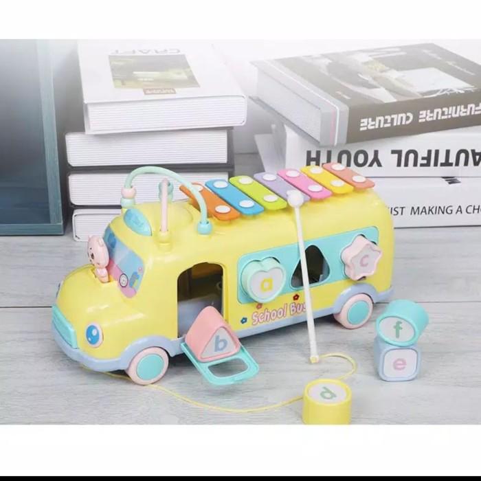 Foto Produk Mainan edukasi 3in1 Bus Xylophone puzzle - Kuning dari AUTO KID II
