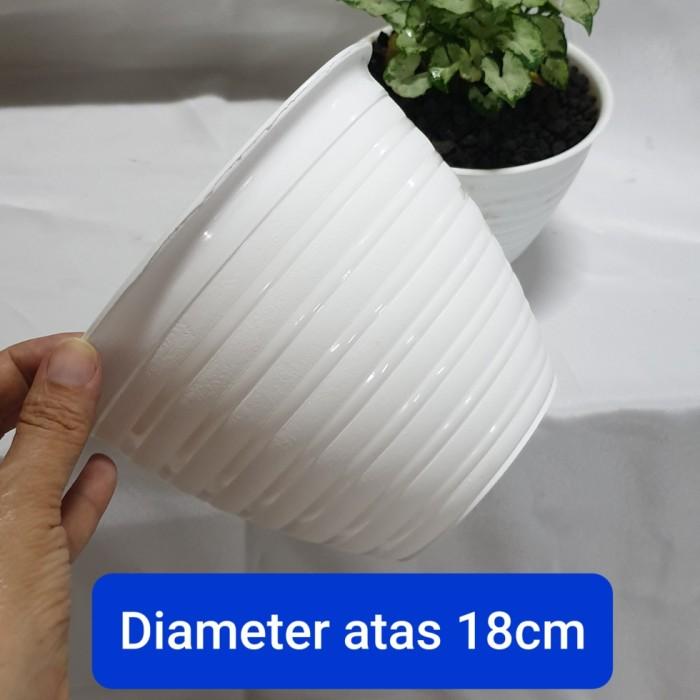 Foto Produk Pot bunga plastik putih model tawon ukuran 20 dari Kembang Cikarang
