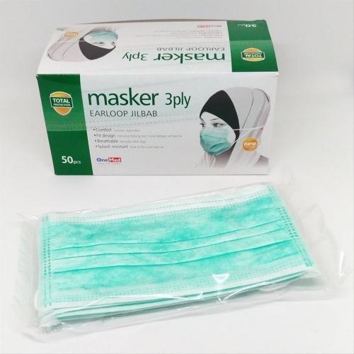 Foto Produk Masker Jilbab / Headloop Jilbab 3 Ply Onemed Isi 50pcs dari Kantin Organik