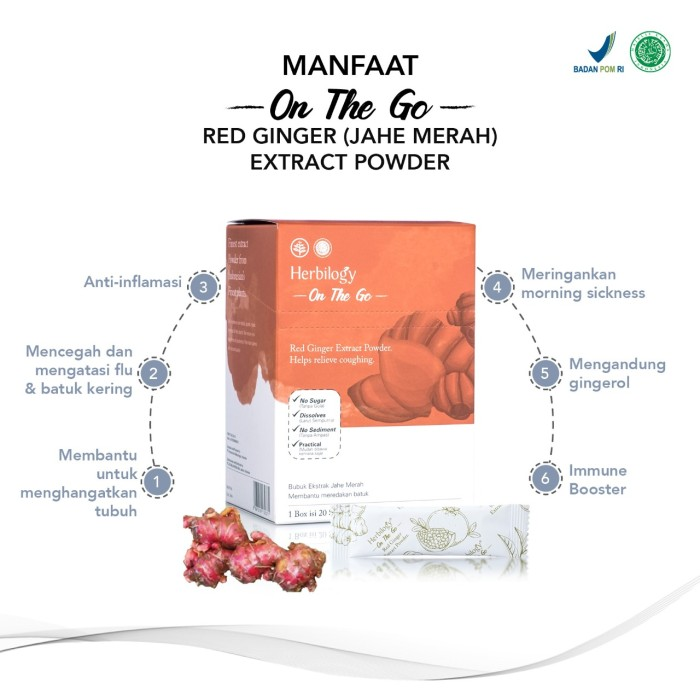 Foto Produk Herbilogy - On The Go - Red Ginger / Jahe Merah Extract Powder dari Kantin Organik