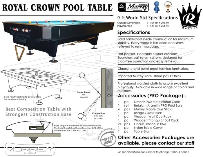 Foto Produk Murrey Royal Crown Pro 9 ft Pool Table - Meja Billiard Biliar Asli dari ISAK Billiard Sport Co.