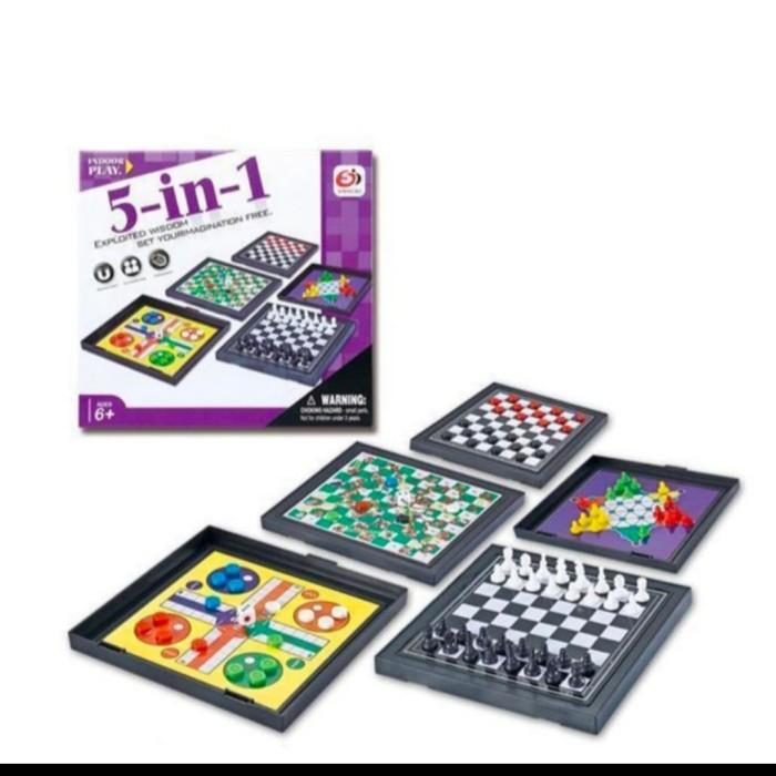 Foto Produk mainan anak indoor papan catur magnetic board 5IN1 dari AUTO KID II