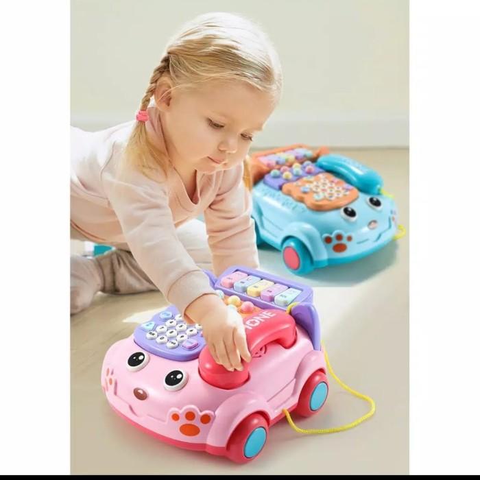 Foto Produk Mainan anak Telepon piano mobil multifungsi/baby phone Toys - Merah Muda dari AUTO KID II