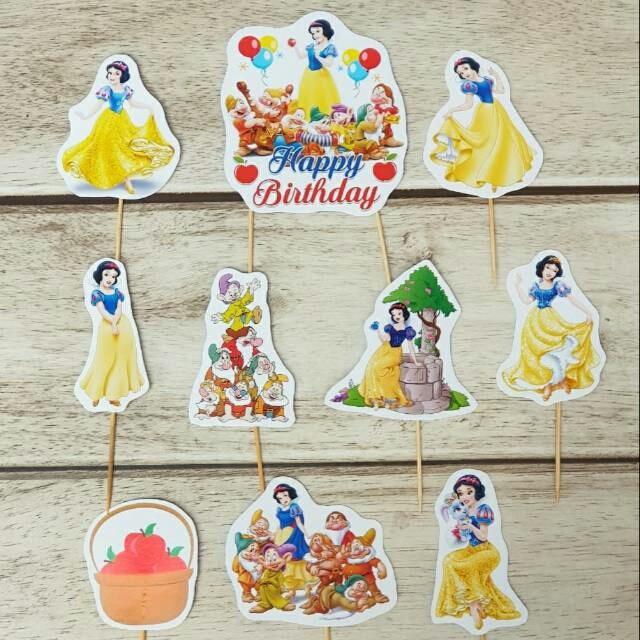 Foto Produk satu set topper toper cake hiasan kue ulang tahun karakter snow white dari recht shop