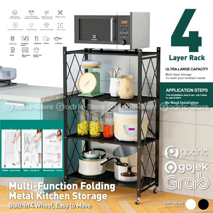 Foto Produk Rak Dapur Lipat Multifungsi 4LYR Metal Rack Penyimpanan Oven Microwave - BLACK dari Godric Store