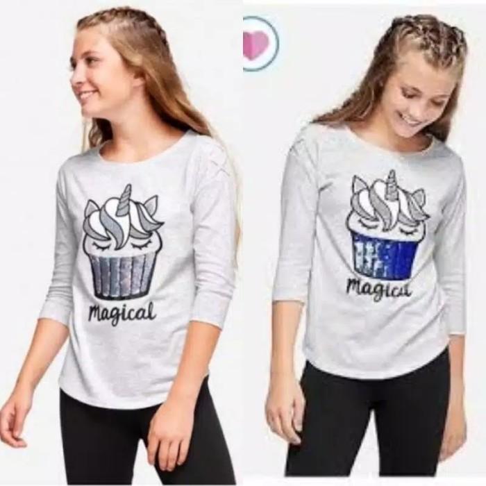 Foto Produk Baju kaos anak branded Justice flip sequin cup cake unicorn 10 T - 10-11 tahun dari Galeri Ona