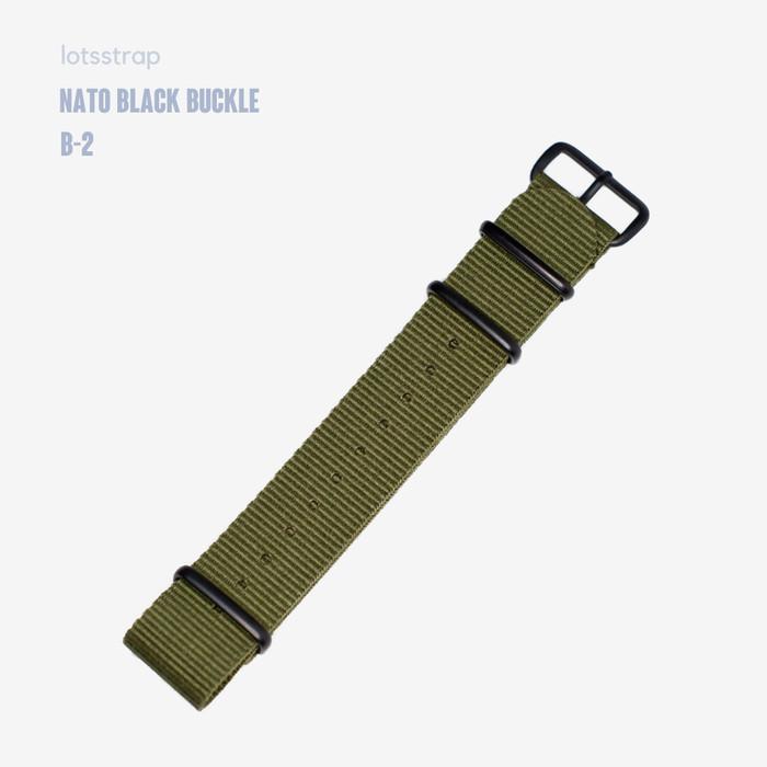 Foto Produk Tali Jam Tangan Nato Strap Black Buckle PVD Hardware Green Army - 20mm dari Lot's