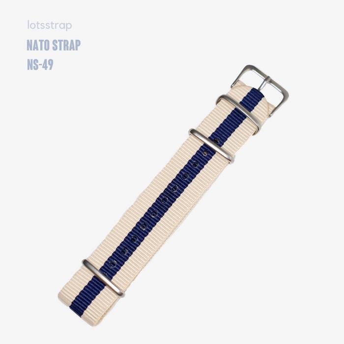 Foto Produk Tali Jam Tangan Nato Strap Navy Cream Biru Khaki - 20mm dari Lot's