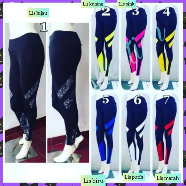 Jual Celana Legging Sport Wanita Leging Combi Sepeda Gowes Bike Lis Kuning Kota Bandung Sarung Tenun Bandung Tokopedia