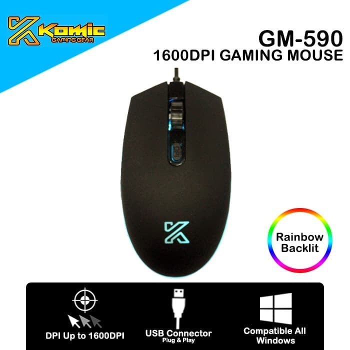 Foto Produk Mouse Gaming Komic Sword Shadow GM-590 – Competitive Game Mouse dari haga komputer