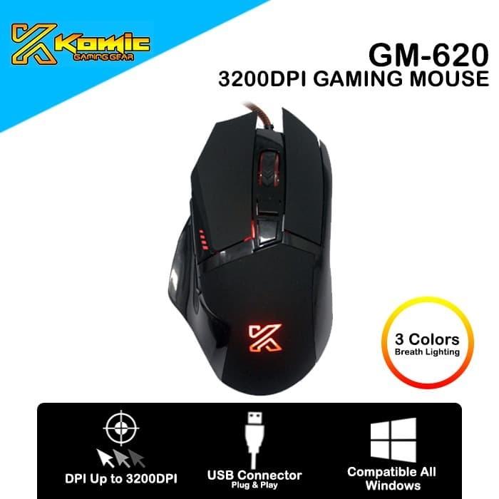 Foto Produk Mouse Gaming Komic GM-620 3200DPI Macro Programmable dari haga komputer
