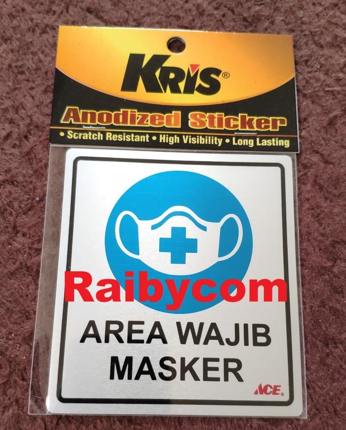 Foto Produk Stiker AREA WAJIB MASKER KRIS Sticker Anodized COVID 9x10cm dari Raibycom