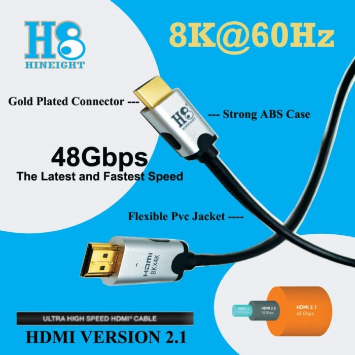 Kabel HDMI To HDMI 2.1 Ultra High Speed 8Kx4K 4320P 60Hz 2 Meter (HINEIGHT(H8))