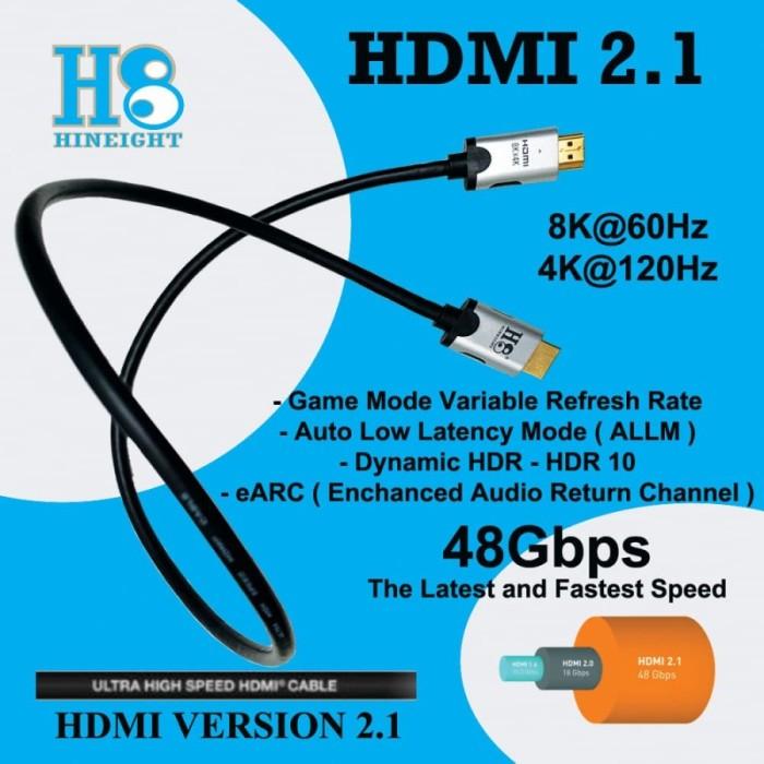 Kabel HDMI To HDMI 2.1 Ultra High Speed 8Kx4K 4320P 60Hz 0.5 Meter (HINEIGHT(H8))