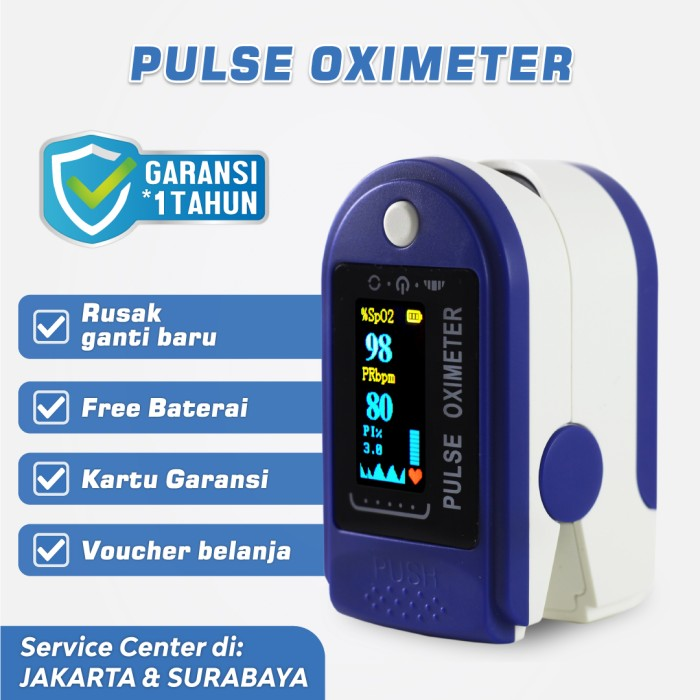 Foto Produk Oximeter Biru - Oxymeter Oksimeter Fingertip Pulse Oksigen Meter SpO2 - Hanya Oximeter dari Kogara