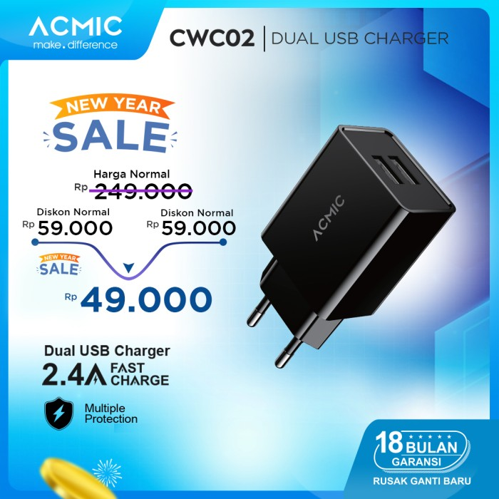 Foto Produk ACMIC CWC02 - Dual USB Wall Charger Adaptor Fast Charging 2.4A - CWC02 Only dari ACMIC Official Store