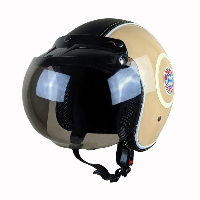 Helm Bogo Vespa Putih Logo Munchen Semi Kulit Retro Klasik SNI