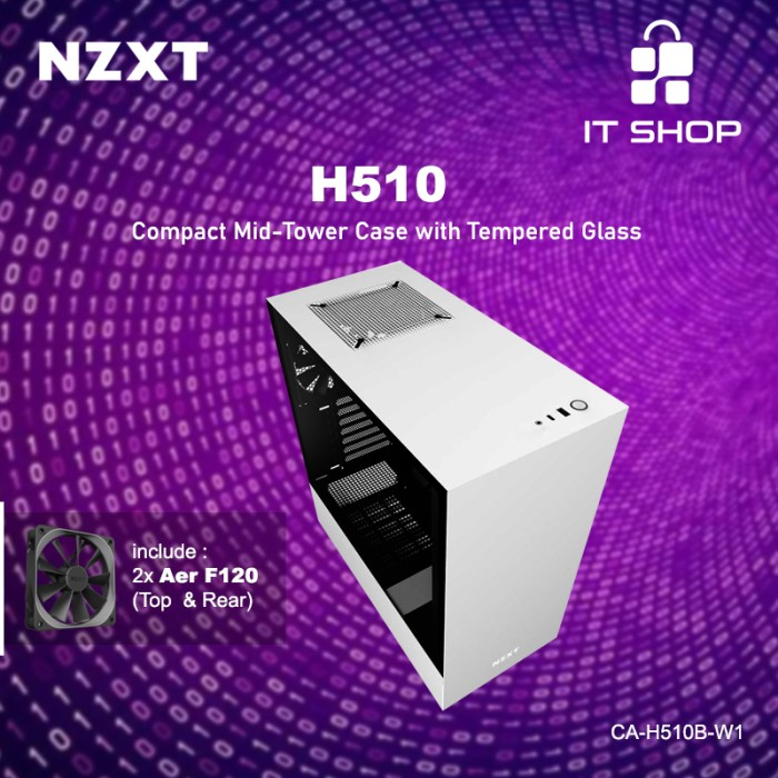 NZXT Casing Gaming H510 White Image