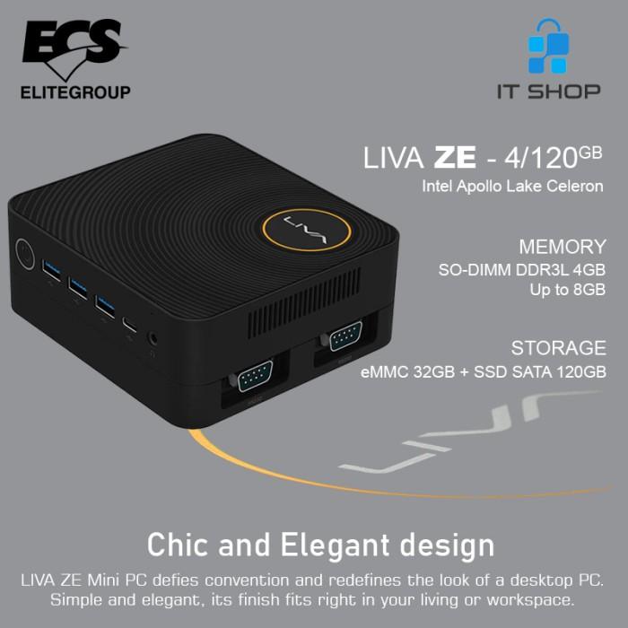 ECS Mini PC Intel LIVA ZE Ram 4GB & SSD 120GB Image